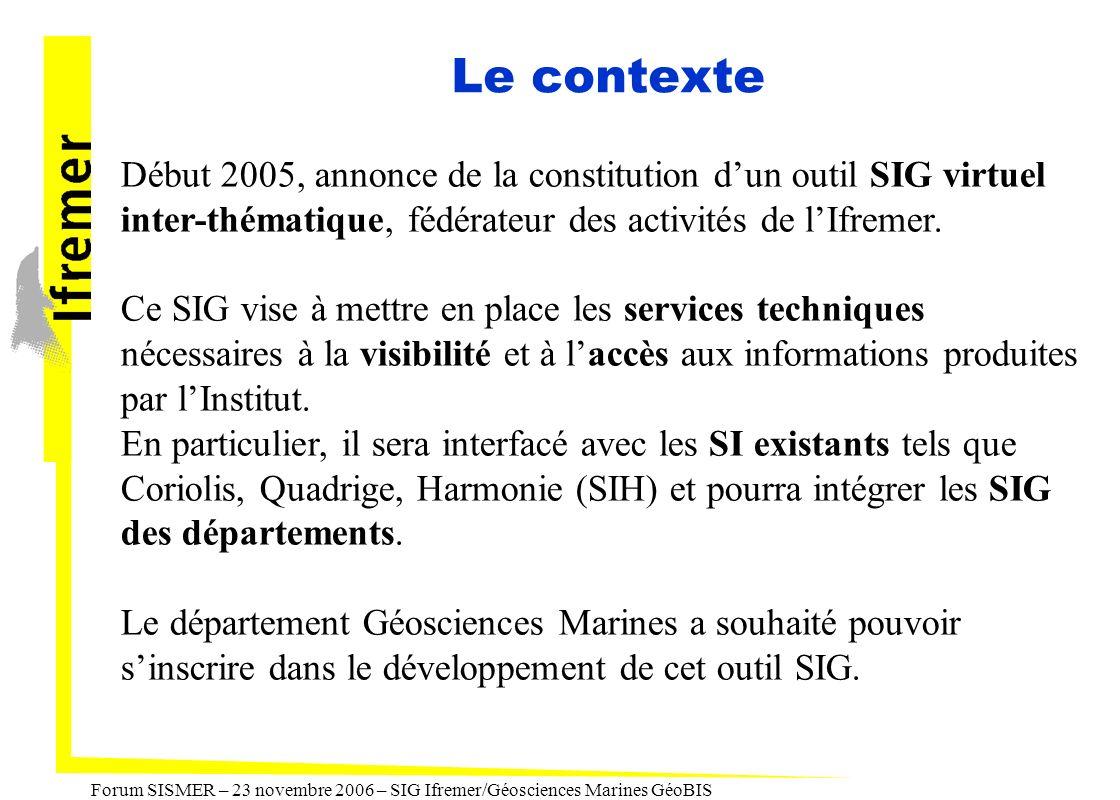 Forum SISMER – 23 novembre 2006 – SIG Ifremer/Géosciences Marines GéoBIS Le contexte Début 2005, annonce de la constitution dun outil SIG virtuel inte