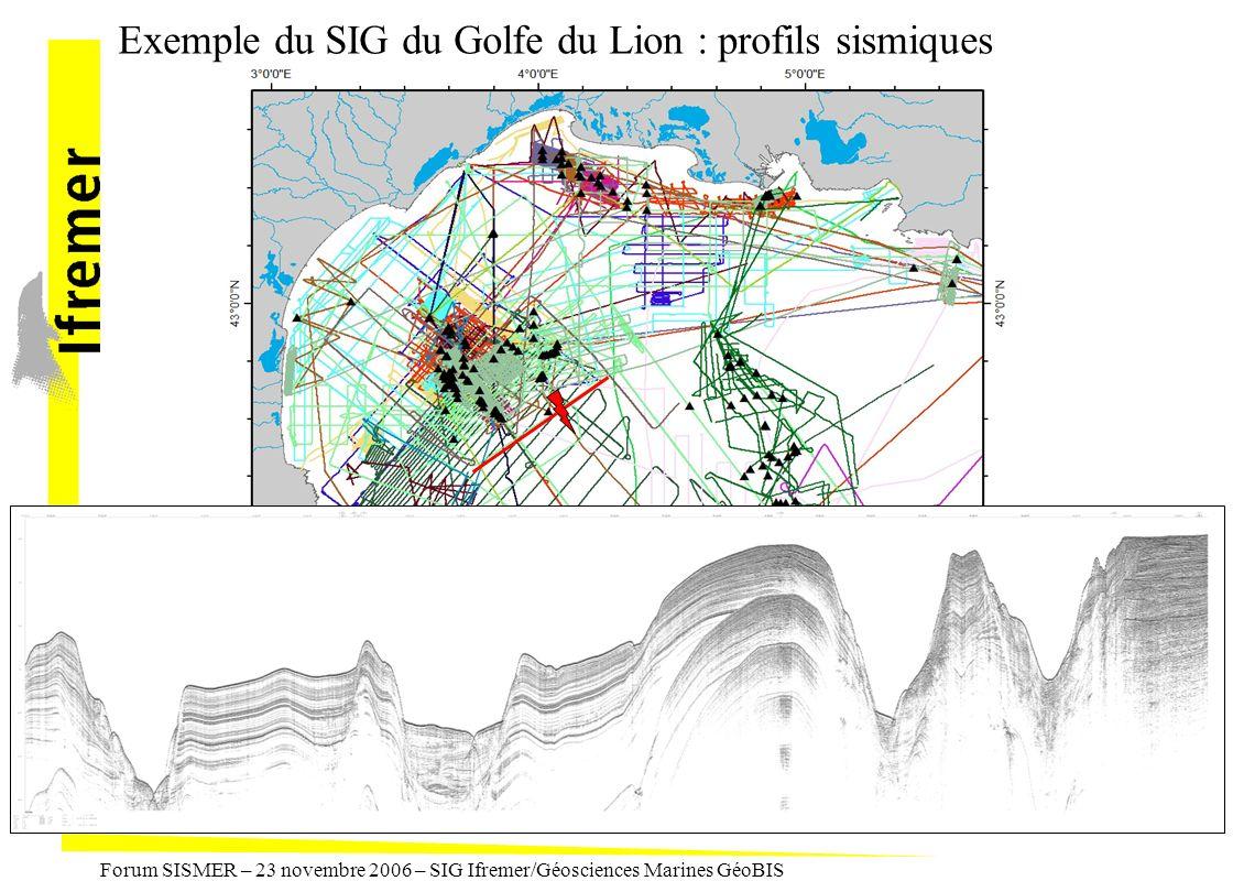 Forum SISMER – 23 novembre 2006 – SIG Ifremer/Géosciences Marines GéoBIS Exemple du SIG du Golfe du Lion : profils sismiques