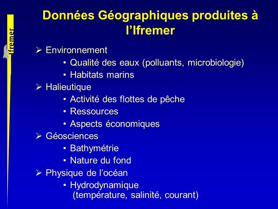 Données Géographiques produites à lIfremer Environnement Qualité des eaux (polluants, microbiologie) Habitats marins Halieutique Activité des flottes