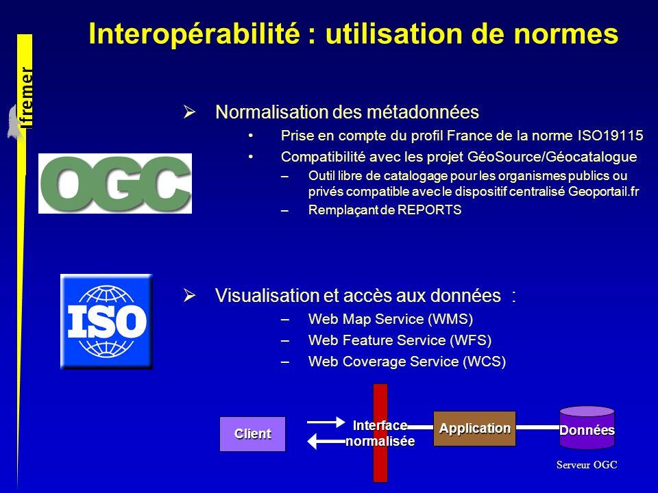 Interopérabilité : utilisation de normes Normalisation des métadonnées Prise en compte du profil France de la norme ISO19115 Compatibilité avec les pr