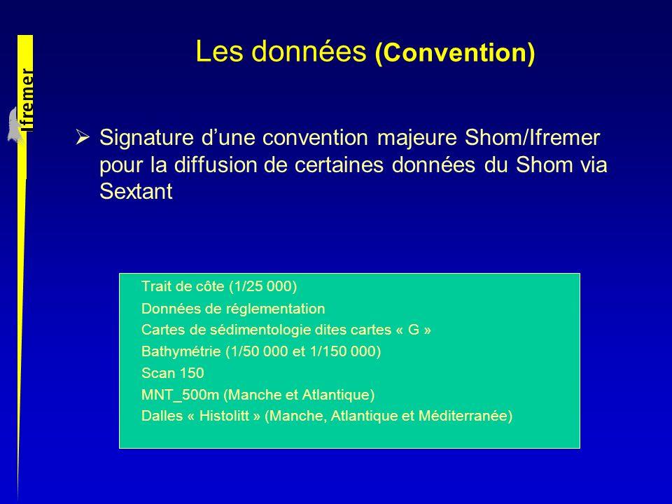 Signature dune convention majeure Shom/Ifremer pour la diffusion de certaines données du Shom via Sextant Trait de côte (1/25 000) Données de réglemen