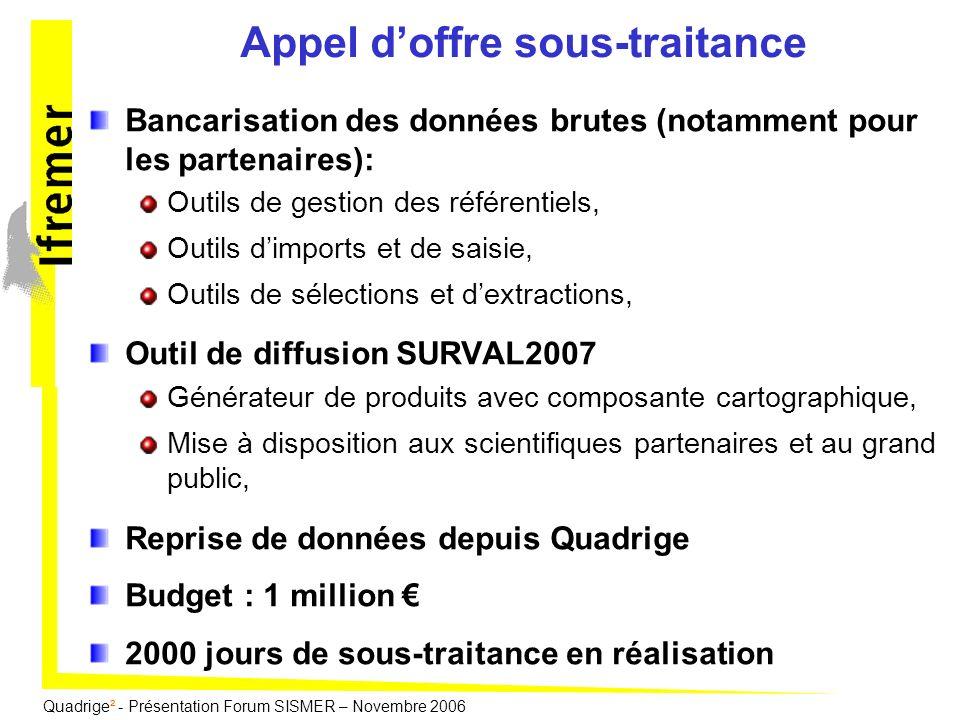 Quadrige² - Présentation Forum SISMER – Novembre 2006 Appel doffre sous-traitance Bancarisation des données brutes (notamment pour les partenaires): O