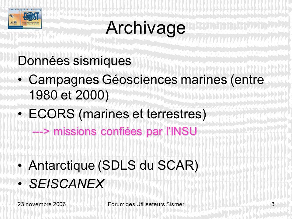 23 novembre 2006Forum des Utilisateurs Sismer3 Archivage Données sismiques Campagnes Géosciences marines (entre 1980 et 2000) ECORS (marines et terres