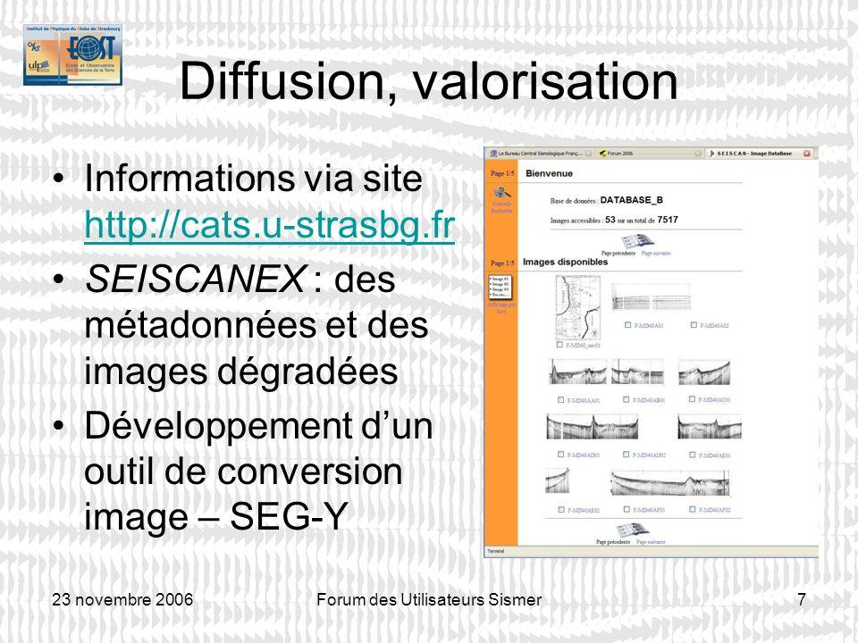 23 novembre 2006Forum des Utilisateurs Sismer7 Diffusion, valorisation Informations via site http://cats.u-strasbg.fr http://cats.u-strasbg.fr SEISCAN