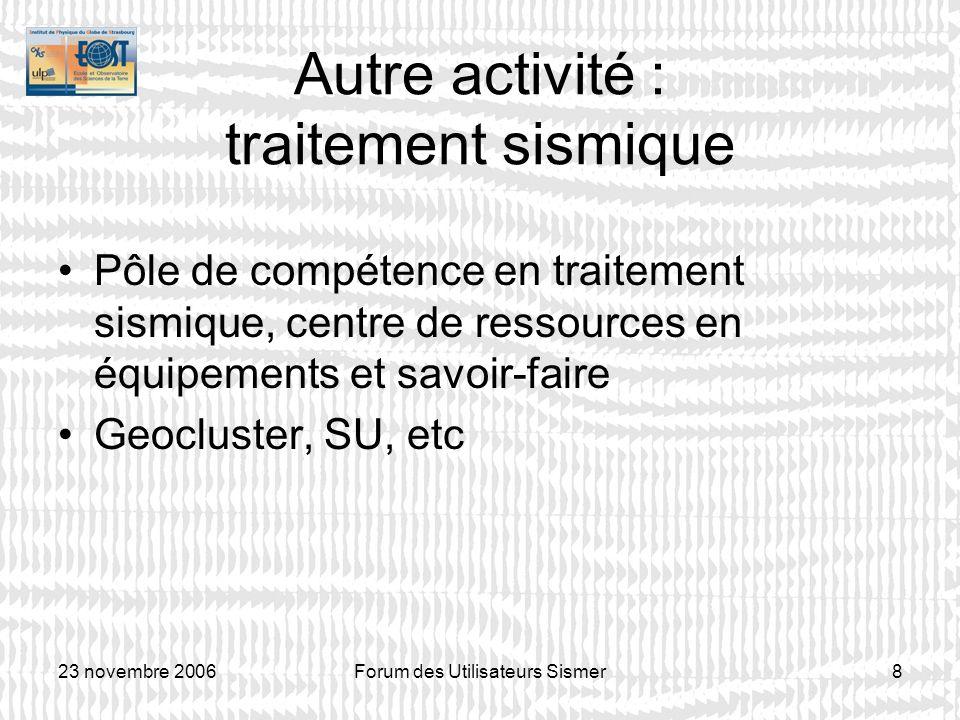 23 novembre 2006Forum des Utilisateurs Sismer8 Autre activité : traitement sismique Pôle de compétence en traitement sismique, centre de ressources en