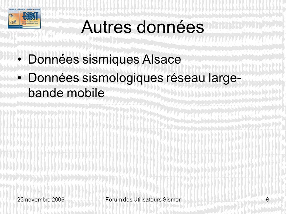 23 novembre 2006Forum des Utilisateurs Sismer9 Autres données Données sismiques Alsace Données sismologiques réseau large- bande mobile