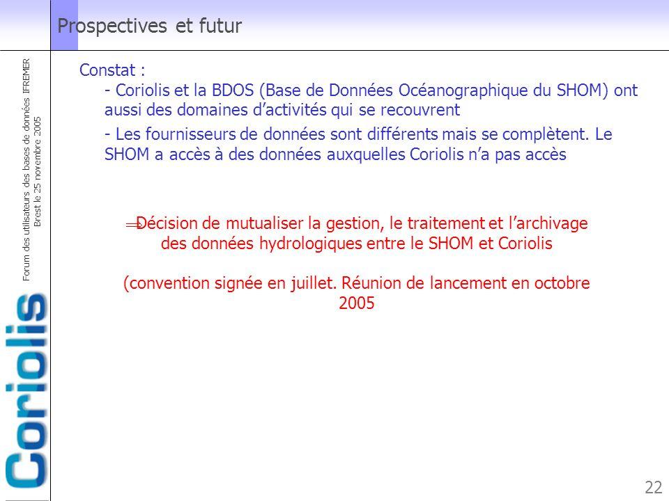 Forum des utilisateurs des bases de données IFREMER Brest le 25 novembre 2005 22 Prospectives et futur Constat : - Coriolis et la BDOS (Base de Donnée