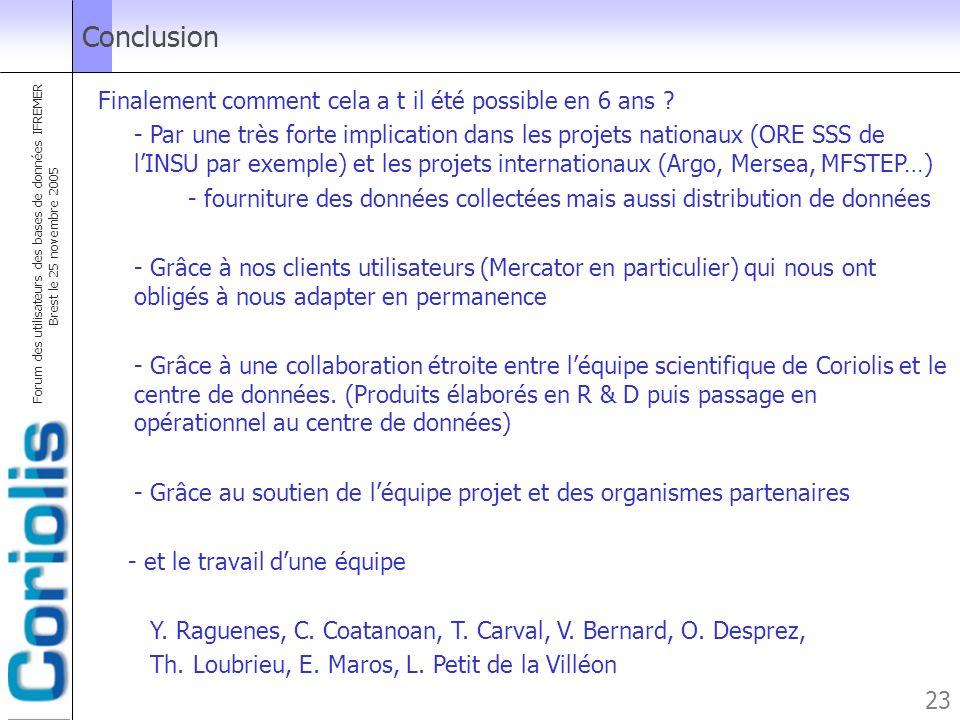 Forum des utilisateurs des bases de données IFREMER Brest le 25 novembre 2005 23 Conclusion Finalement comment cela a t il été possible en 6 ans ? - P