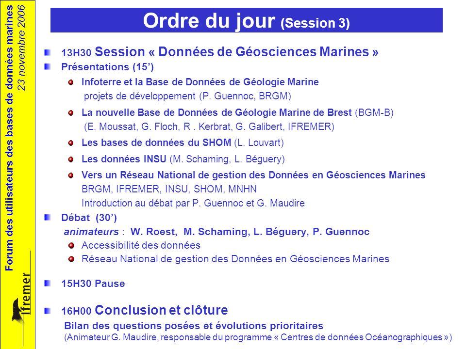 Forum des utilisateurs des bases de données marines 23 novembre 2006 Ordre du jour (Session 3) 13H30 Session « Données de Géosciences Marines » Présentations (15) Infoterre et la Base de Données de Géologie Marine projets de développement (P.