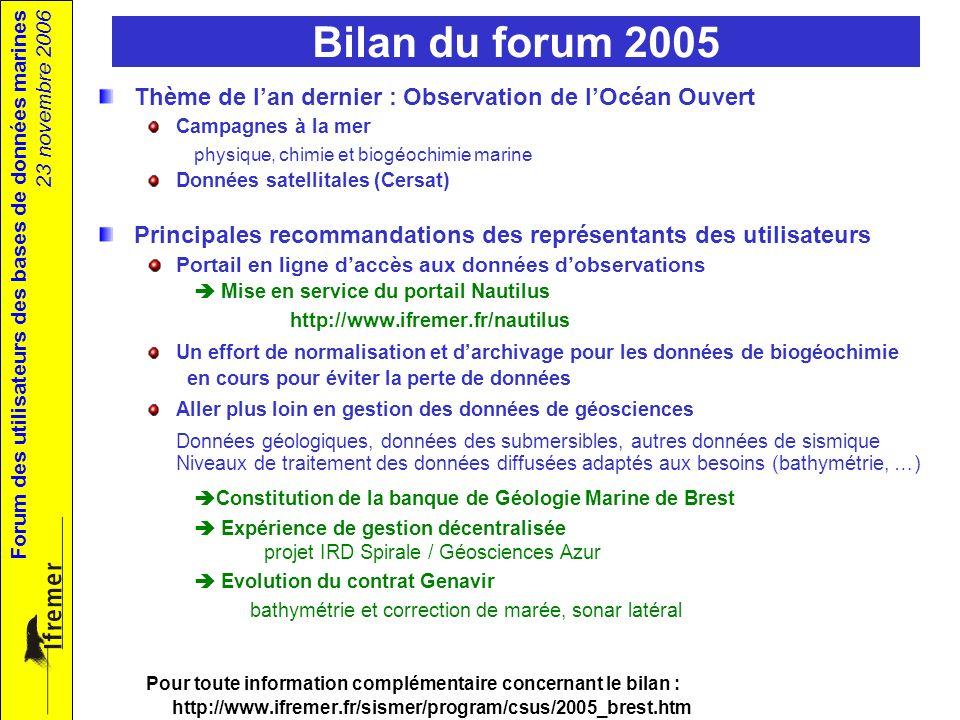 Forum des utilisateurs des bases de données marines 23 novembre 2006 Bilan du forum 2005 Thème de lan dernier : Observation de lOcéan Ouvert Campagnes