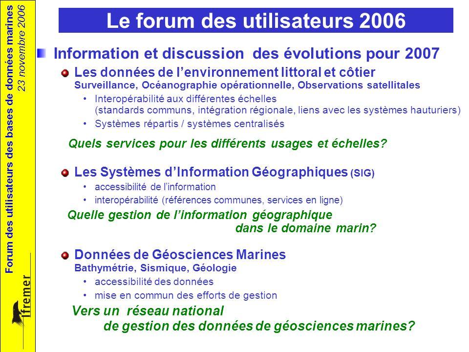 Forum des utilisateurs des bases de données marines 23 novembre 2006 Le forum des utilisateurs 2006 Information et discussion des évolutions pour 2007