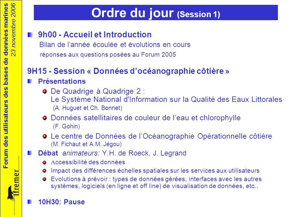 Forum des utilisateurs des bases de données marines 23 novembre 2006 Ordre du jour (Session 1) 9h00 - Accueil et Introduction Bilan de lannée écoulée