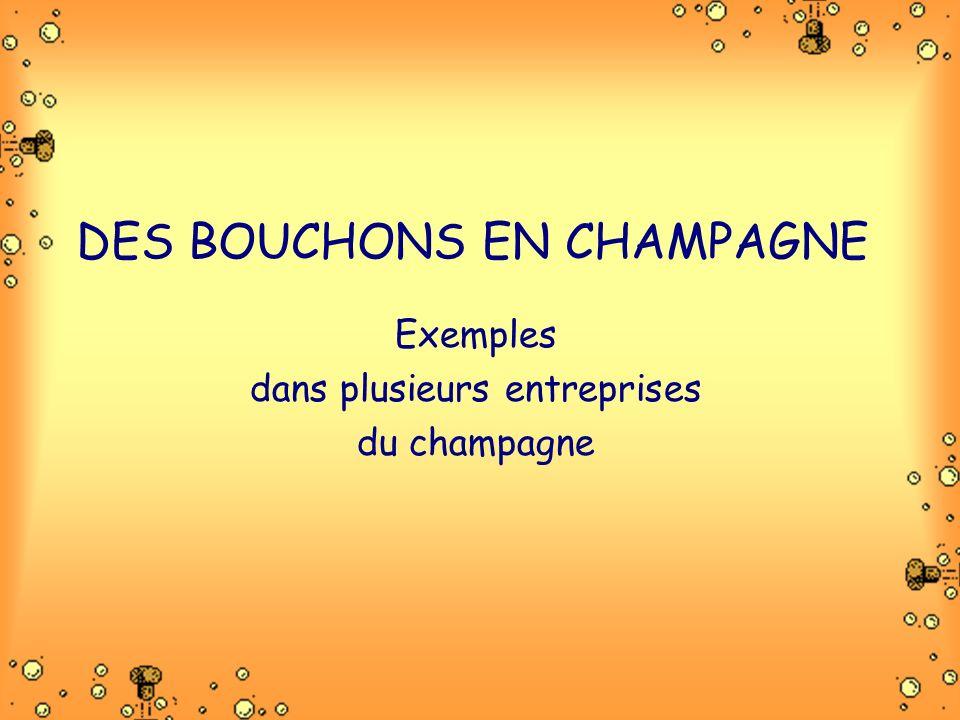 DES BOUCHONS EN CHAMPAGNE Exemples dans plusieurs entreprises du champagne