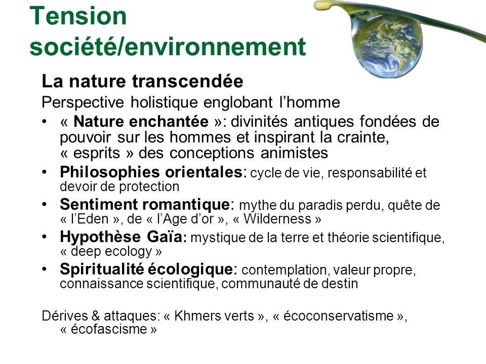Tension société/environnement La nature transcendée Perspective holistique englobant lhomme « Nature enchantée »: divinités antiques fondées de pouvoi