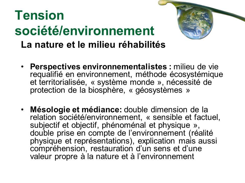 Tension société/environnement La nature et le milieu réhabilités Perspectives environnementalistes : milieu de vie requalifié en environnement, méthod