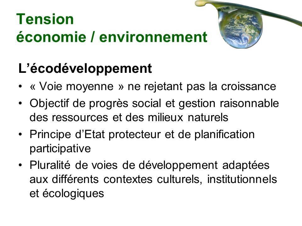 Tension économie / environnement Lécodéveloppement « Voie moyenne » ne rejetant pas la croissance Objectif de progrès social et gestion raisonnable de