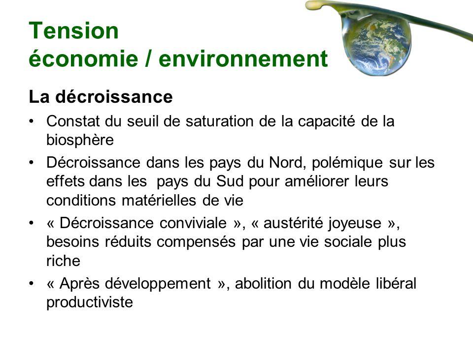 Tension économie / environnement La décroissance Constat du seuil de saturation de la capacité de la biosphère Décroissance dans les pays du Nord, pol