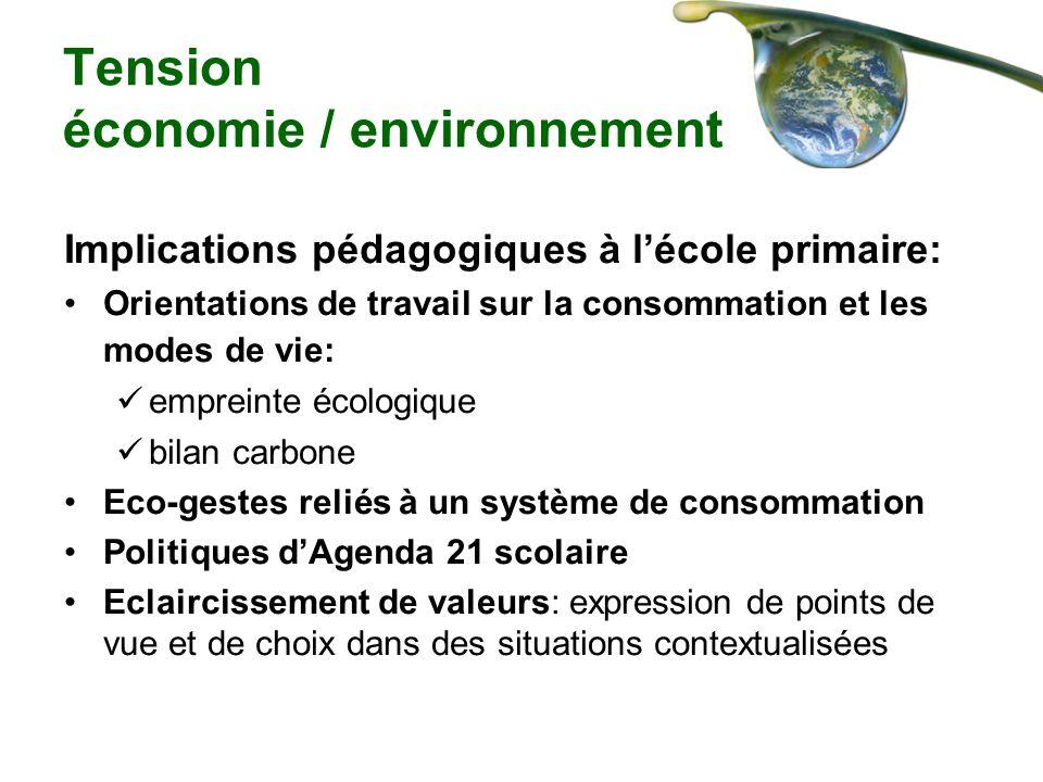 Tension économie / environnement Implications pédagogiques à lécole primaire: Orientations de travail sur la consommation et les modes de vie: emprein