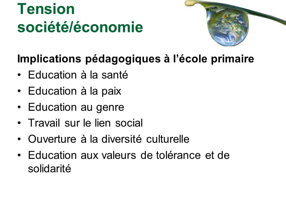 Tension société/économie Implications pédagogiques à lécole primaire Education à la santé Education à la paix Education au genre Travail sur le lien s