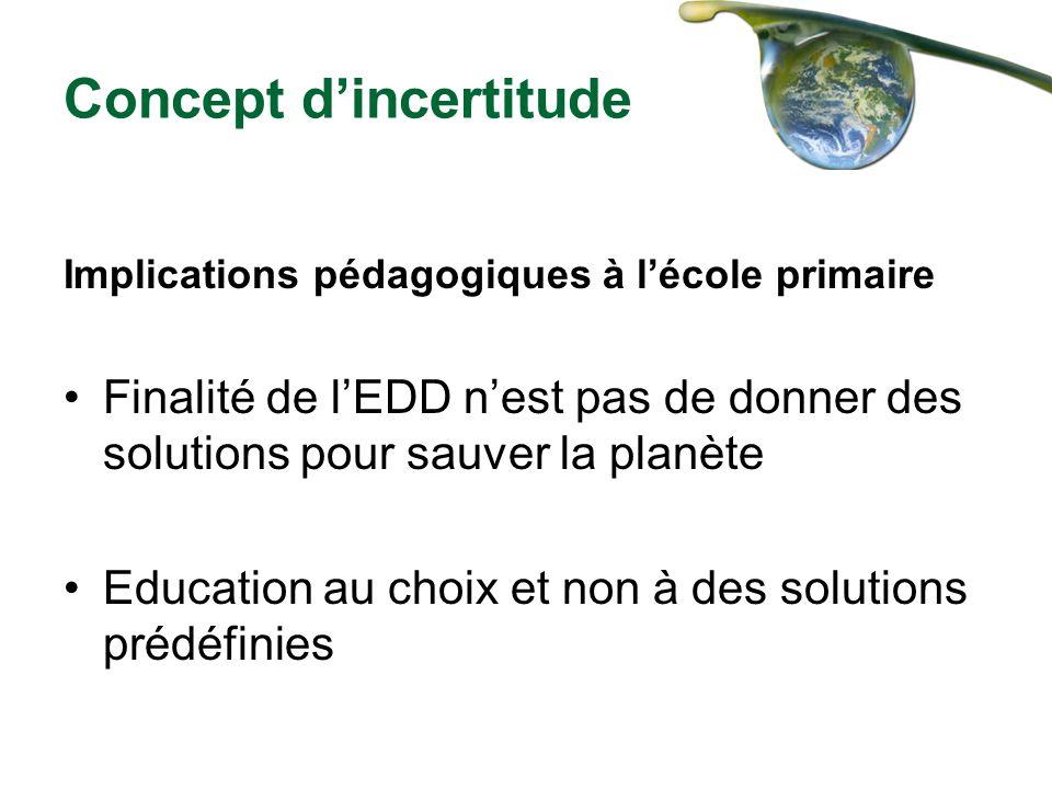 Concept dincertitude Implications pédagogiques à lécole primaire Finalité de lEDD nest pas de donner des solutions pour sauver la planète Education au