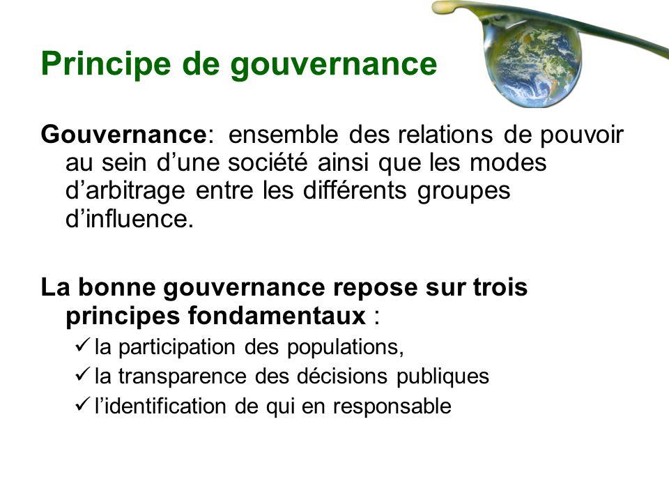 Principe de gouvernance Gouvernance: ensemble des relations de pouvoir au sein dune société ainsi que les modes darbitrage entre les différents groupe