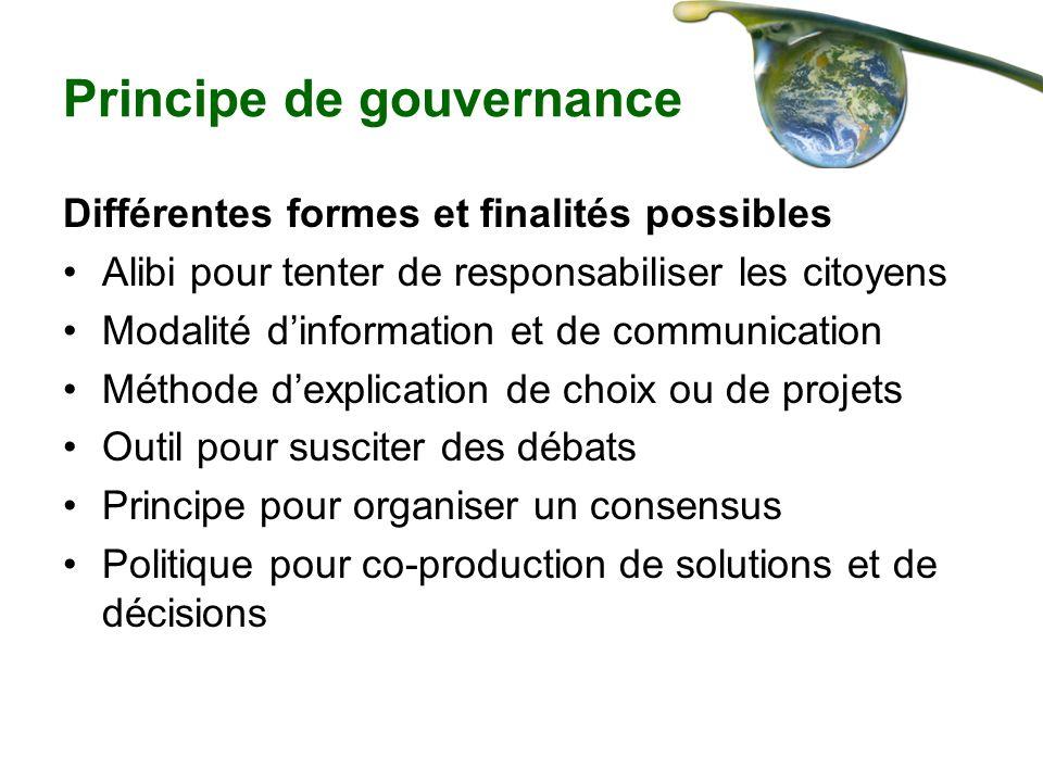 Principe de gouvernance Différentes formes et finalités possibles Alibi pour tenter de responsabiliser les citoyens Modalité dinformation et de commun