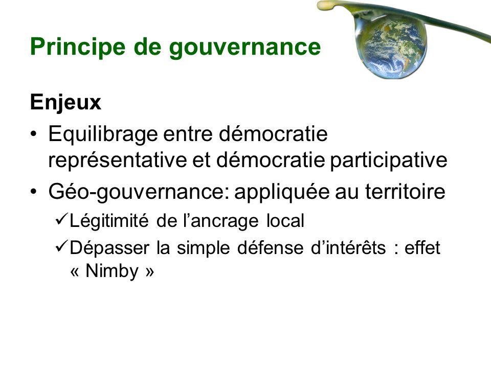 Principe de gouvernance Enjeux Equilibrage entre démocratie représentative et démocratie participative Géo-gouvernance: appliquée au territoire Légiti