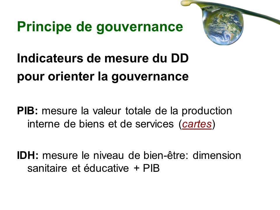 Principe de gouvernance Indicateurs de mesure du DD pour orienter la gouvernance PIB: mesure la valeur totale de la production interne de biens et de