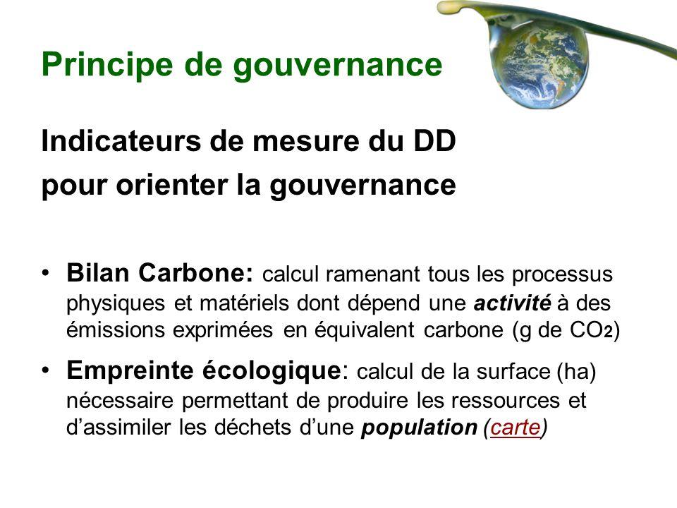 Principe de gouvernance Indicateurs de mesure du DD pour orienter la gouvernance Bilan Carbone: calcul ramenant tous les processus physiques et matéri