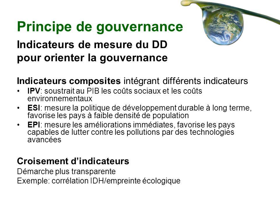 Principe de gouvernance Indicateurs de mesure du DD pour orienter la gouvernance Indicateurs composites intégrant différents indicateurs IPV: soustrai