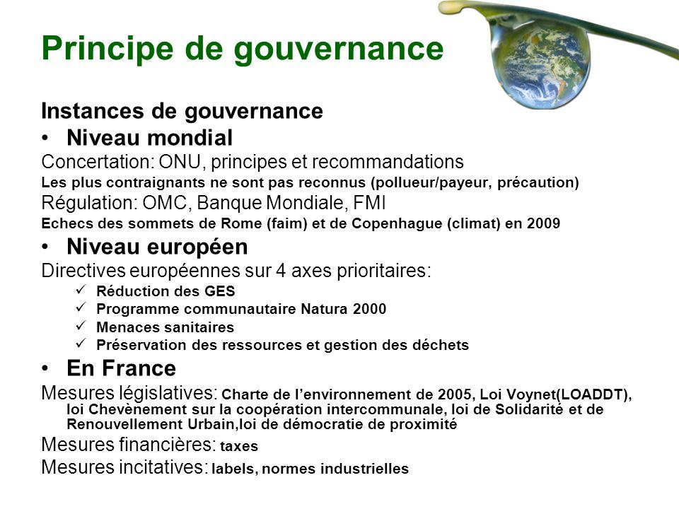 Principe de gouvernance Instances de gouvernance Niveau mondial Concertation: ONU, principes et recommandations Les plus contraignants ne sont pas rec