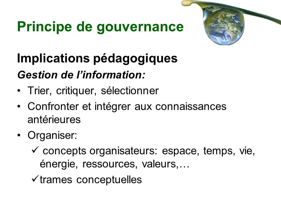 Principe de gouvernance Implications pédagogiques Gestion de linformation: Trier, critiquer, sélectionner Confronter et intégrer aux connaissances ant