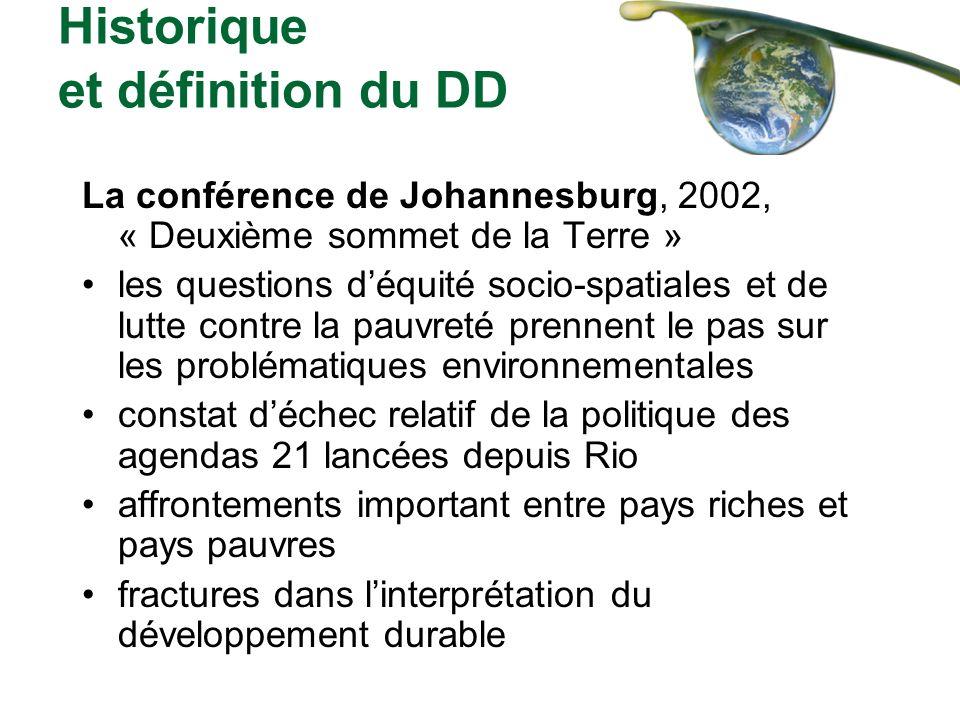 Historique et définition du DD La conférence de Johannesburg, 2002, « Deuxième sommet de la Terre » les questions déquité socio-spatiales et de lutte