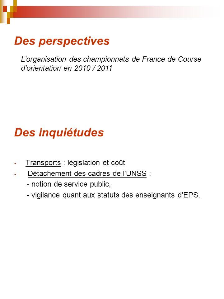 Des perspectives - Transports : législation et coût - Détachement des cadres de lUNSS : - notion de service public, - vigilance quant aux statuts des