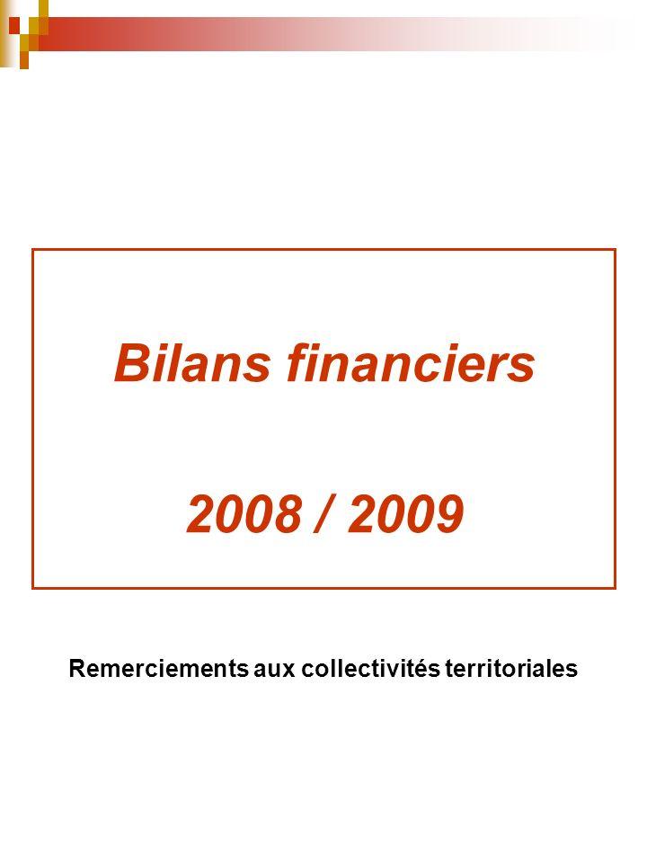 Bilans financiers 2008 / 2009 Remerciements aux collectivités territoriales