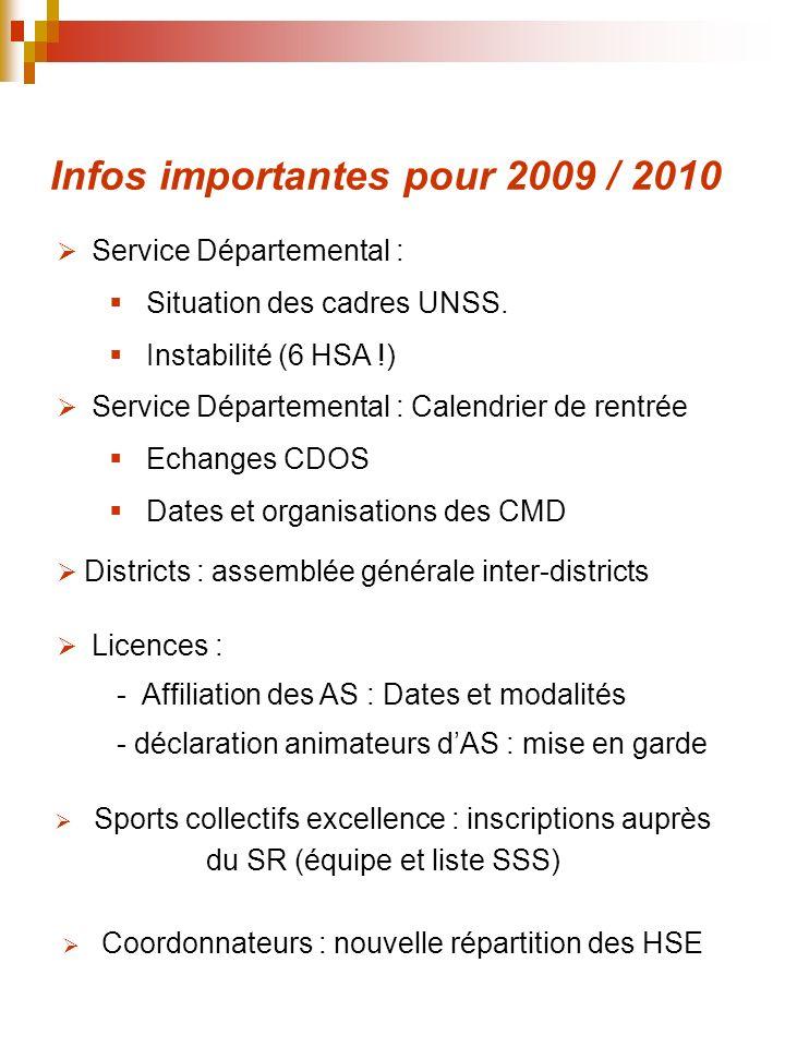 Infos importantes pour 2009 / 2010 Coordonnateurs : nouvelle répartition des HSE Service Départemental : Calendrier de rentrée Echanges CDOS Dates et
