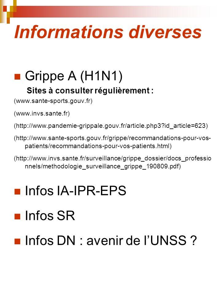 Informations diverses Grippe A (H1N1) Sites à consulter régulièrement : (www.sante-sports.gouv.fr) (www.invs.sante.fr) (http://www.pandemie-grippale.g