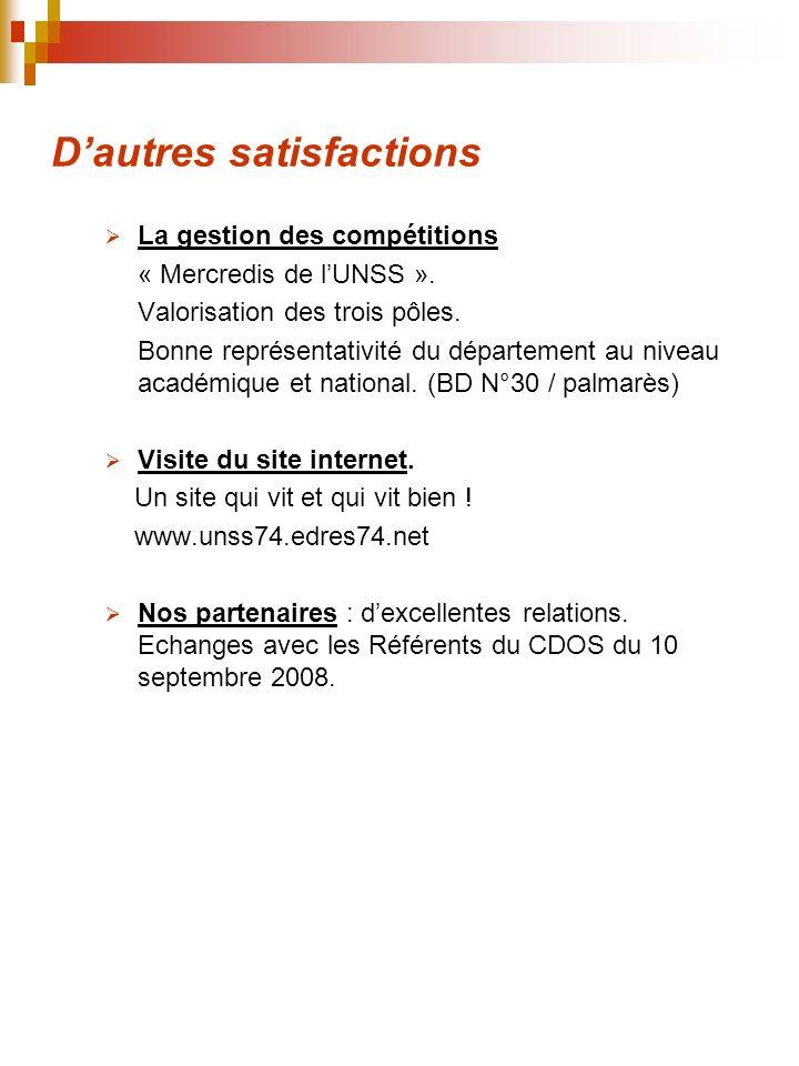 Dautres satisfactions La gestion des compétitions « Mercredis de lUNSS ».