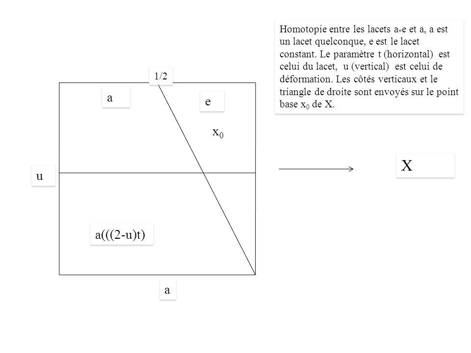 X X 1/2 a(((2-u)t) a a u u a a e e x0x0 Homotopie entre les lacets a * e et a, a est un lacet quelconque, e est le lacet constant.