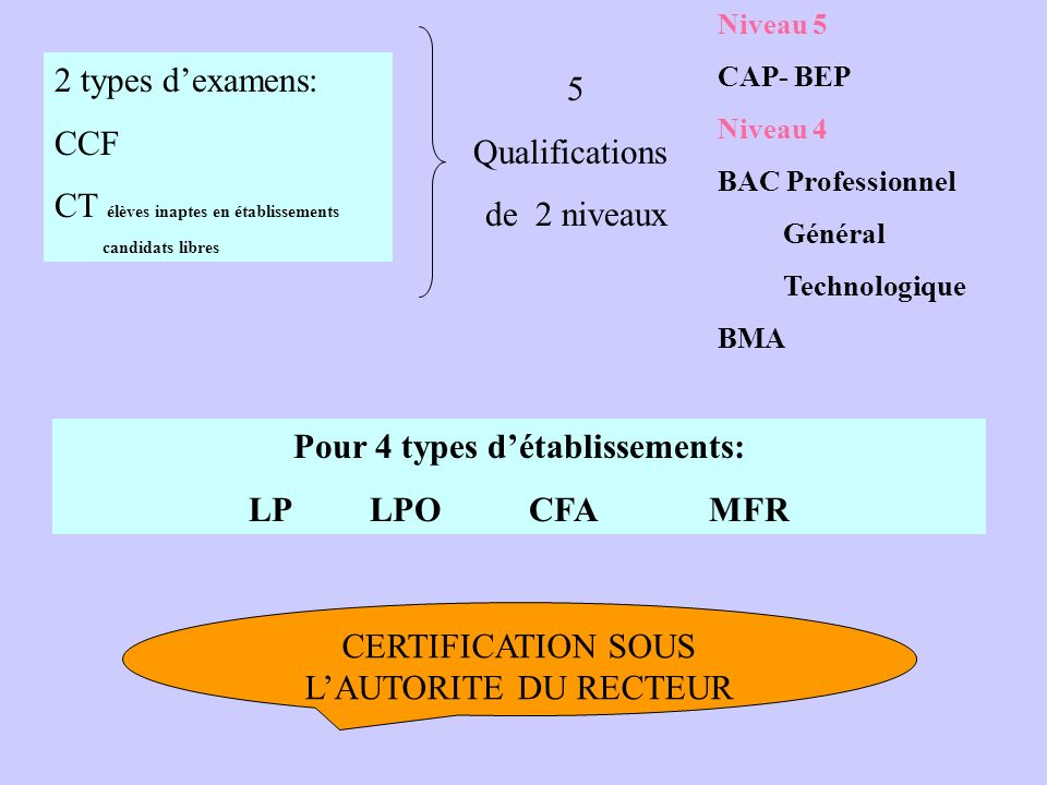 LA CERTIFICATION En BEP-CAP et BAC PROFESSIONNEL arrêté du 21 juillet 2005 Note de service à paraître Applicable pour la session 2006 Abroge le texte De Nov.