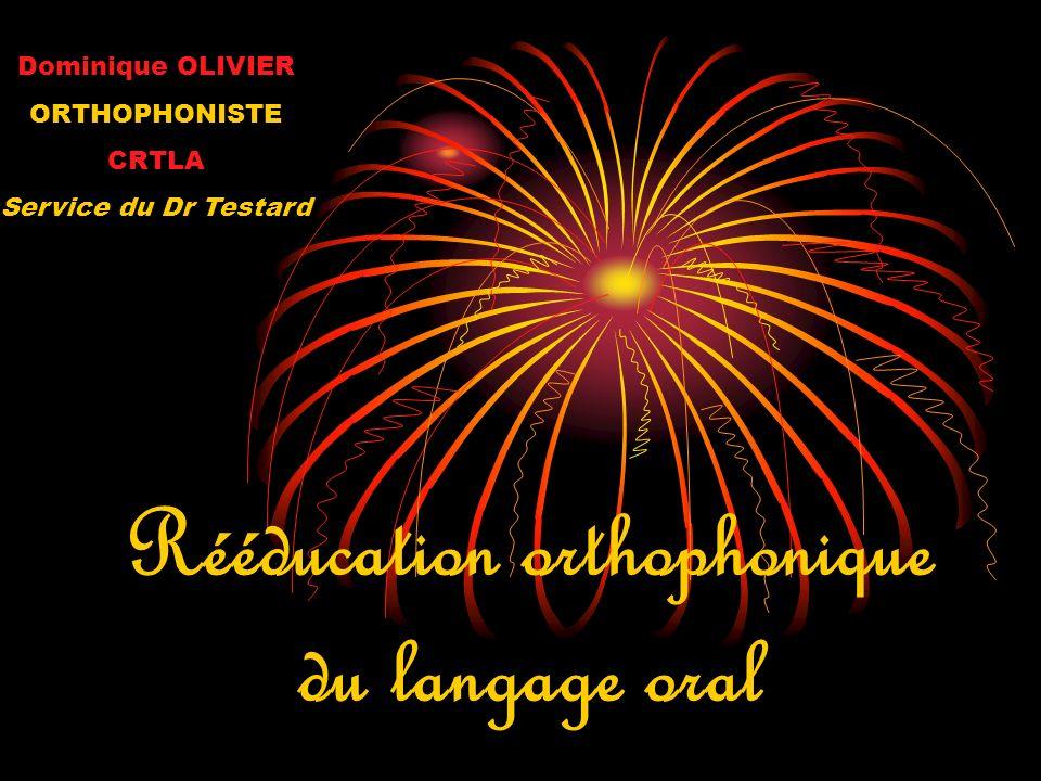 Rééducation orthophonique du langage oral Dominique OLIVIER ORTHOPHONISTE CRTLA Service du Dr Testard