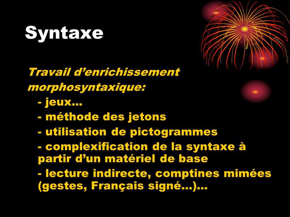 Syntaxe Travail denrichissement morphosyntaxique: - jeux... - méthode des jetons - utilisation de pictogrammes - complexification de la syntaxe à part