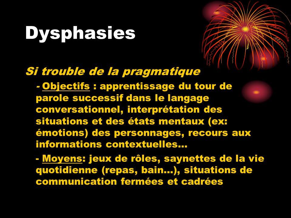 Dysphasies Si trouble de la pragmatique - Objectifs : apprentissage du tour de parole successif dans le langage conversationnel, interprétation des si