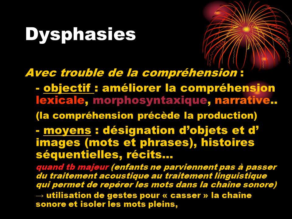 Dysphasies Avec trouble de la compréhension : - objectif : améliorer la compréhension lexicale, morphosyntaxique, narrative.. (la compréhension précèd