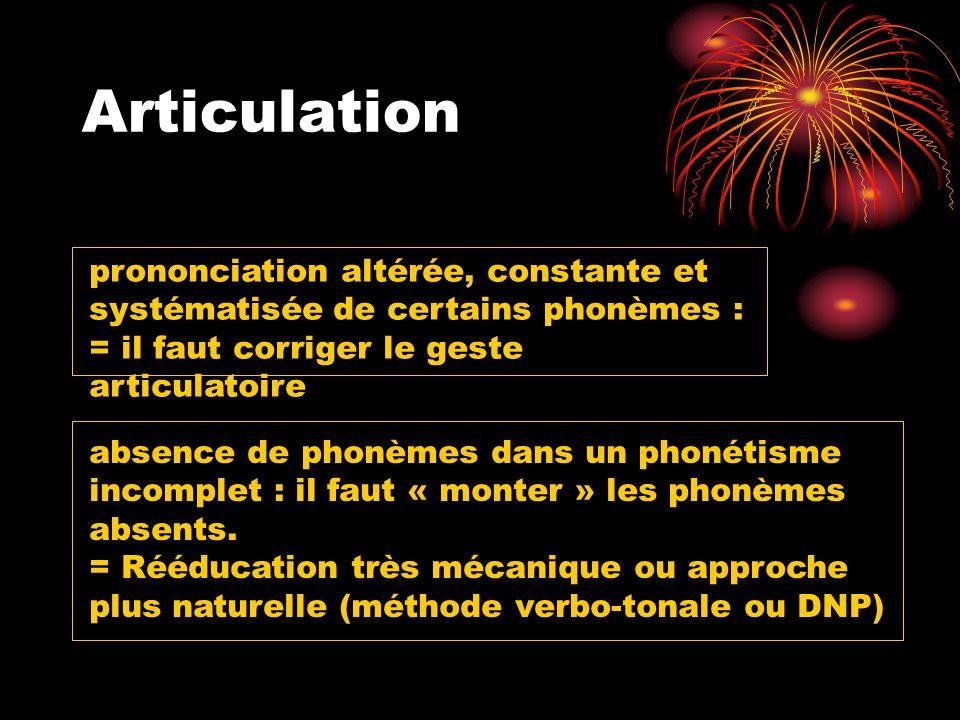 Articulation prononciation altérée, constante et systématisée de certains phonèmes : = il faut corriger le geste articulatoire absence de phonèmes dan