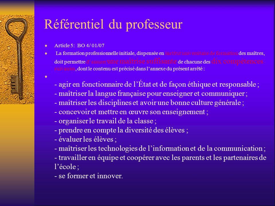 Référentiel du professeur Article 5: BO 4/ 01/07 La formation professionnelle initiale, dispensée en institut universitaire de formation des maîtres,