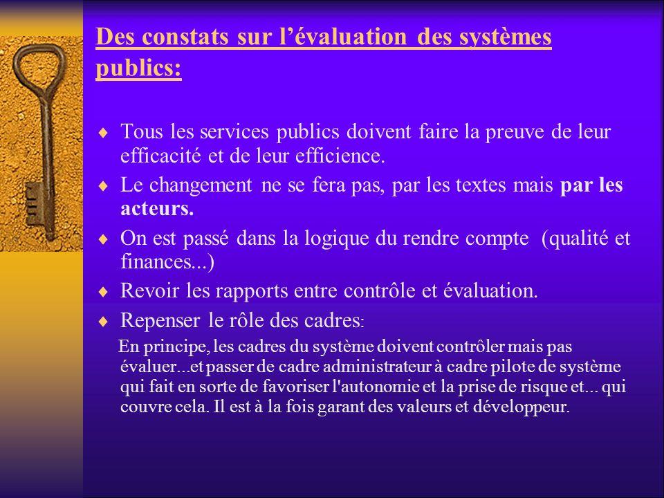 Des constats sur lévaluation des systèmes publics: Tous les services publics doivent faire la preuve de leur efficacité et de leur efficience. Le chan