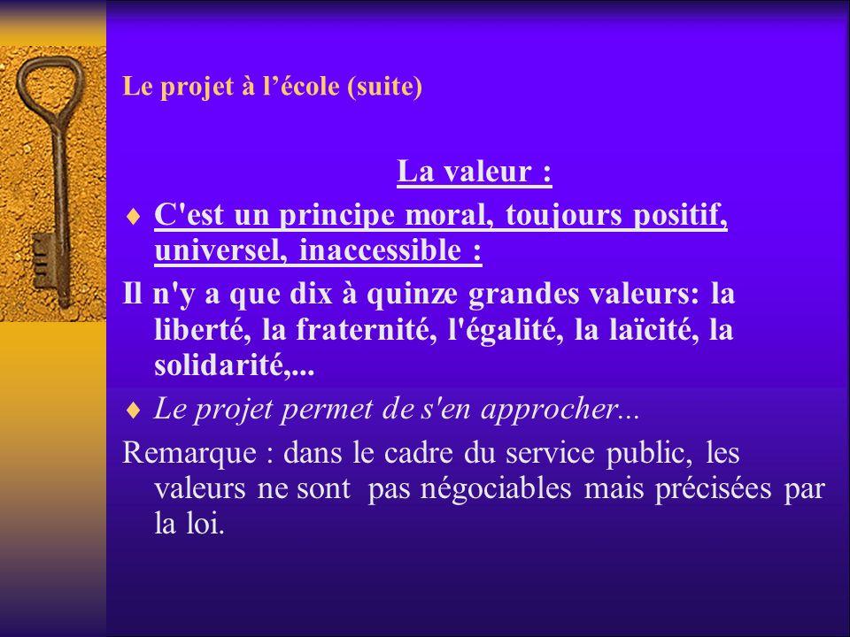 Le projet à lécole (suite) La valeur : C'est un principe moral, toujours positif, universel, inaccessible : Il n'y a que dix à quinze grandes valeurs: