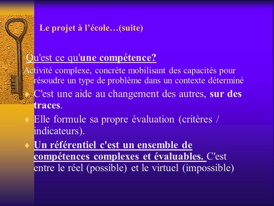 Le projet à lécole…(suite) Qu'est ce qu'une compétence? Activité complexe, concrète mobilisant des capacités pour résoudre un type de problème dans un