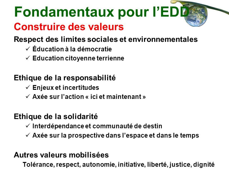 Fondamentaux pour lEDD Construire des valeurs Respect des limites sociales et environnementales Éducation à la démocratie Education citoyenne terrienn